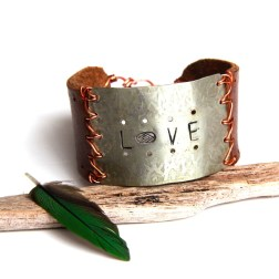 Silver Stamped Love and Brown Leather Cuff Bracelet