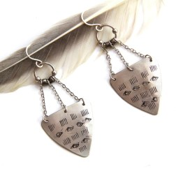 Tribal Stamped Boho Triangle Earrings