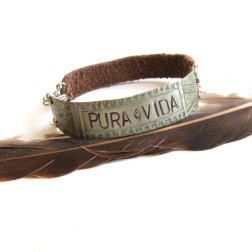 Tribal Silver Stamped PURA VIDA and Brown Leather Bracelet