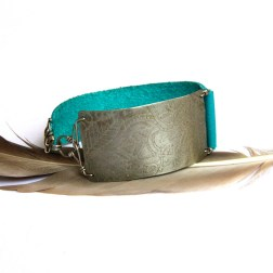 Etched Tribal Silver and Turquoise Leather Bracelet