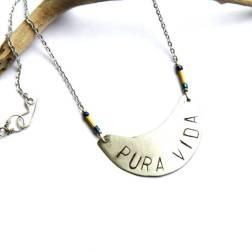 Bohemian Urban Eclectic Jewelry Handmade Costa Rica Stamped PURA VIDA Silver Crescent Pendant Necklace