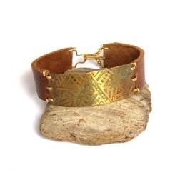 Men's Tribal Etched Brass Leather Bracelet