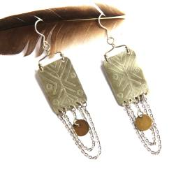 Bohemian Urban Eclectic Jewelry Handmade Costa Rica Mixed Metal Silver Tribal Etched With Silver Chain Earrings