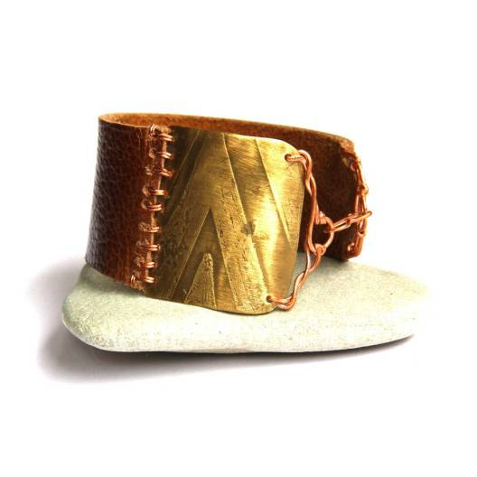 Geometric Etched Mixed Metal and Brown Leather Bracelet