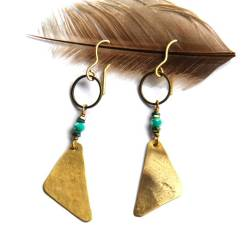 Brass Triangle and Mint Earrings