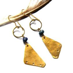 Bohemian Urban Eclectic Jewelry Handmade Costa Rica Brass Triangle and Lapis Earrings