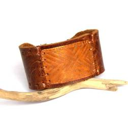 Etched Copper and Brown Leather Bracelet