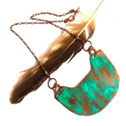 Copper Geometric Necklace with Patina