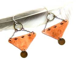 Urban Eclectic Jewelry Handmade Tamarindo Costa Rica Stamped Copper Triangle Earrings