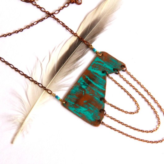 Urban Eclectic Jewelry Handmade Tamarindo Costa Rica Geometric Copper Chain Necklace with Turquoise Patina