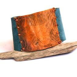 Etched Copper and Blue Leather Bracelet