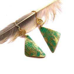 Tribal Etched Brass Triangle Earrings with Green Patina