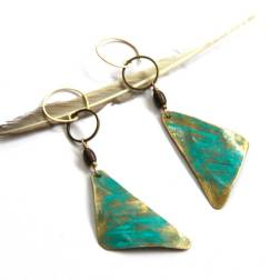 Brass Triangle and Hematite Earrings with Turquoise Patina