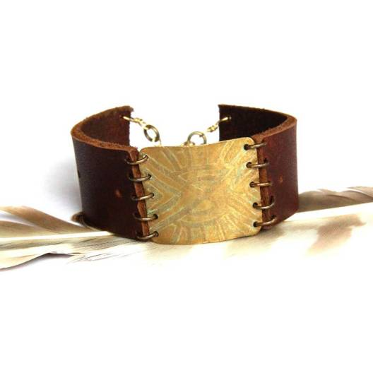 Etched Tribal Brass and Brown Leather Bracelet