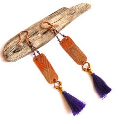 Urban Eclectic Jewelry Handmade Tamarindo Costa Rica Tribal Etched Copper and Purple Tassel Earrings