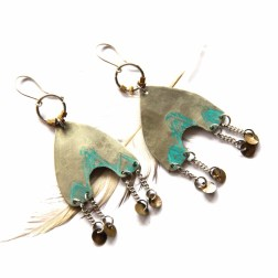 Urban Eclectic Jewelry Handmade Tamarindo Costa Rica Etched Tribal Silver and Turquoise Patina Geometric Earrings