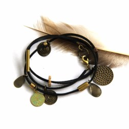 Urban Eclectic Jewelry Handmade Tamarindo Costa Rica Black Coin Leather Wrap Bracelet