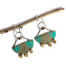 Etched Tribal Silver and Turquoise Patina Crescent Earrings