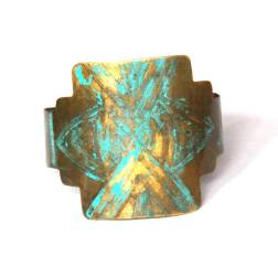 Geometric Etched Brass and Turquiose Patina Cuff