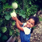 My niece Sophia's first visit to the garden.
