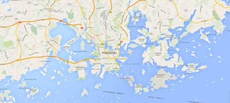 There's no lack of sea in Helsinki. Map courtesy of Google.