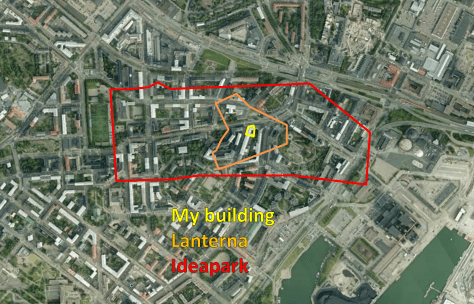 Land consumption compared. Malls and dense mixed-use development don't blend together well. Ideapark Lempäälä would cover a sizeable part of my neighborhood. Map source: Fonecta.