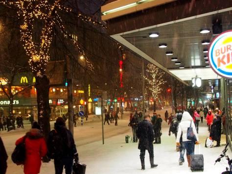Tampere's main street Hämeenkatu and a winter-y atmosphere. Doesn't look so dead, does it? Photo credit: Erkki Ottela.