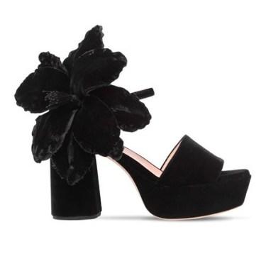 Rochas - Flower Embellished Velvet Sandals