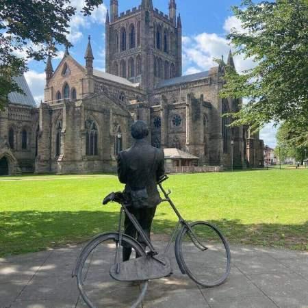 Hereford Edward Elgar leaning against bicycle