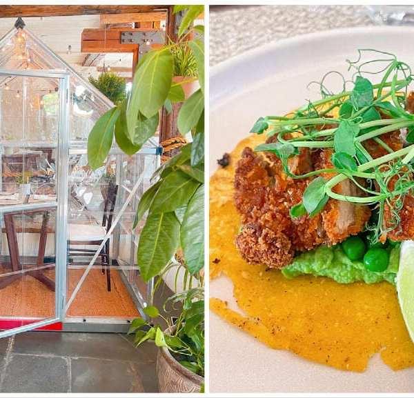 Lunch at Au Jardin Chez Muffy, an ephemeral restaurant in Québec City's Old Port neighbourhood.