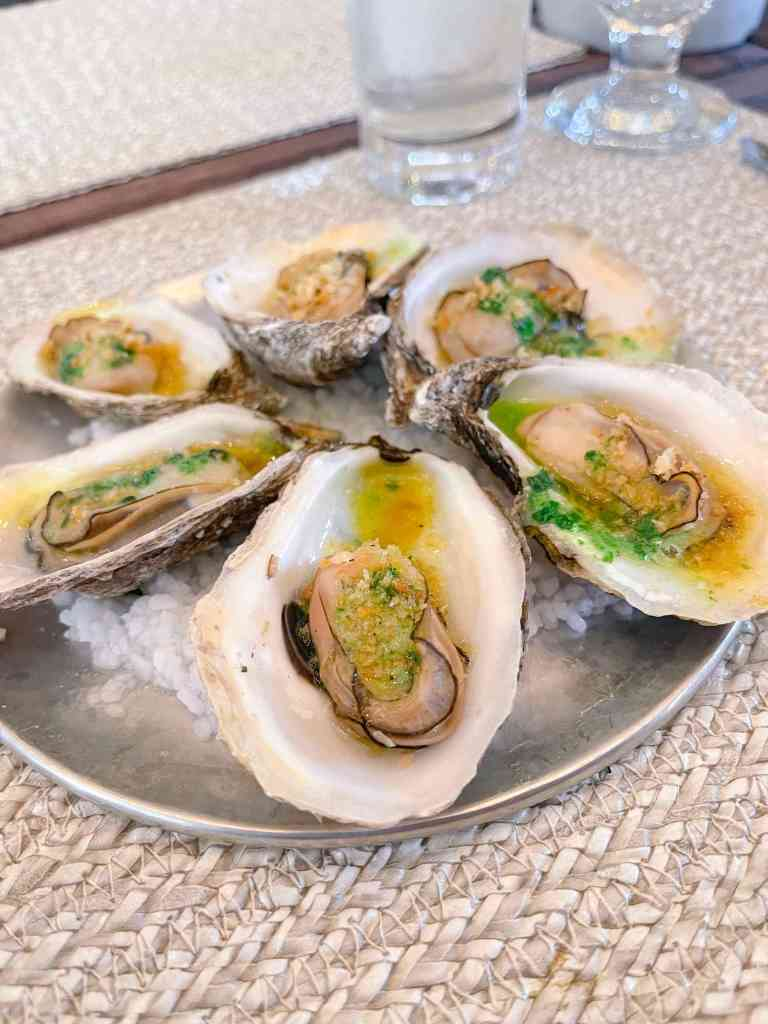 Oysters with leek garlic and roasted breadcrumbs at Au Jardin