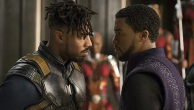 Chadwick Boseman and Michael B. Jordan appear in a scene from Black Panther (Credit: Disney-Marvel Studios)
