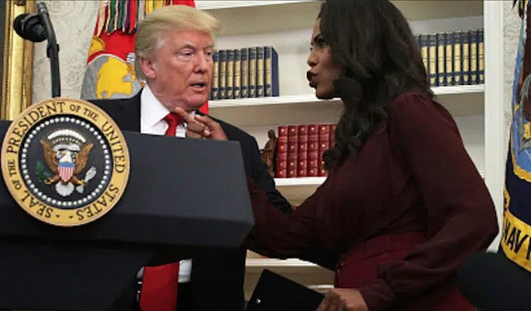 President Donald Trump is shown with Omarosa Manigault-Newman