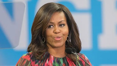 Michelle Obama, speaking to students at NC State University. Other speakers were former governor Jim Hunt and Deborah Ross, on October 4th, 2016 in Raleigh, USA. (Credit: Shutterstock)