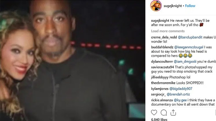 Tupac is Alive Instagram Post With Beyonce. (Credit: Instagram)