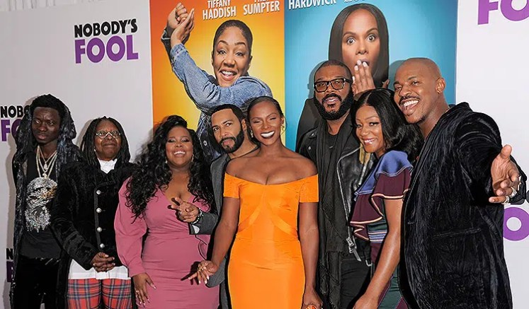 """NEW YORK, NY - OCTOBER 28, 2018: Tyler Perry and cast attend the world premiere of """"Nobody's Fool."""" (Credit: Shutterstock)"""