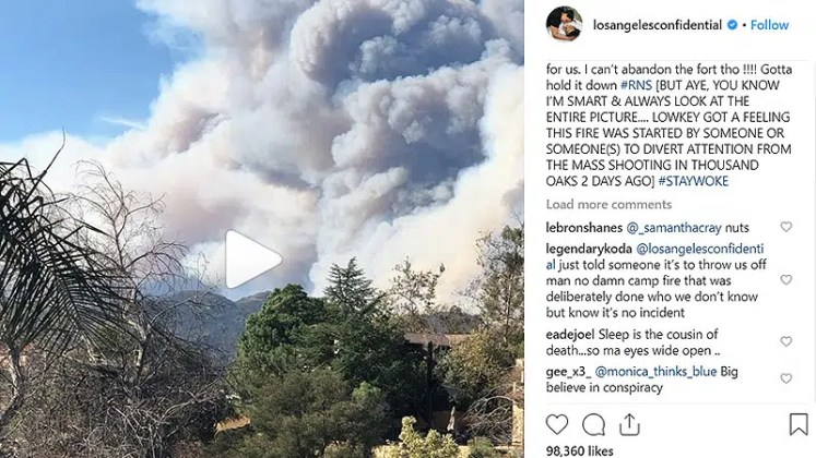 The Game has been sharing fire updates on Instagram. (Credit: Instagram/@losangelesconfidential)