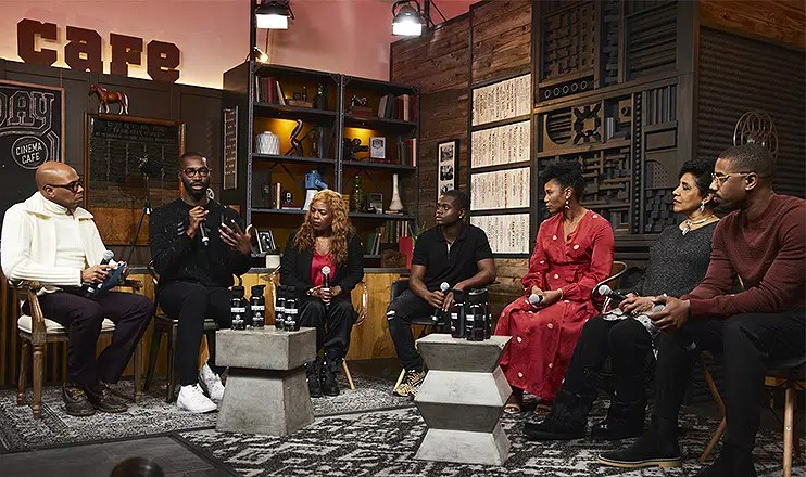 """David Makes Ma""n screening attended by (L-R) Brickson Diamond, Tarell Alvin McCraney, Dee Harris-Lawrence, Akili McDowell, Alana Arenas, Phylicia Rashad and Michael B. Jordan (Credit: Erik Umphery)a"