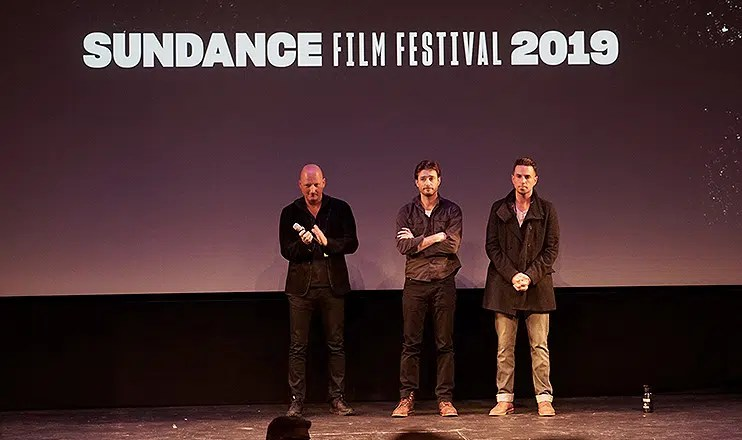 "(L-R) Director Dan Reed, James Safechuck and Wade Robson attend ""Leaving Neverland"" screening in Park City, Utah on Jan. 25, 2019. (Credit: Matthew Carey)"