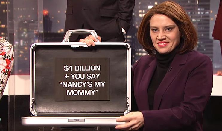 Kate McKinnon plays House Speaker Nancy Pelosi on SNL. (Credit: NBC)