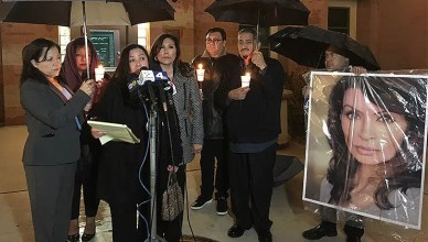 Attorney Vicki Sarmiento and friends of actress Vanessa Marquez held a news conference on Feb. 20, about the the actress's death. (Credit: B. Higgs)