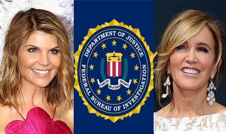 Lori Loughlin and Felicity Huffman are shown with the FBI logo (Credit: Deposit Photos and FBI)