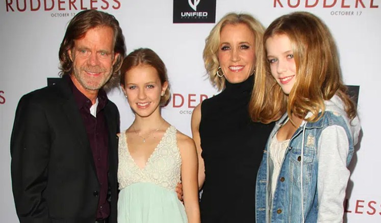 William H. Macy and Felicity Huffman are shown with their daughters. (Credit: Deposit Photos)