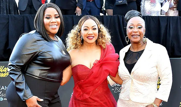 Kelly Price, Erica Campbell and Regina Belle arrive on the red carpet of the 34th Stellar Gospel Music Awards (Credit: Earl Gibson III)