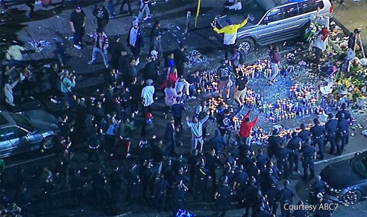 Nipsey Hussle Vigil Turns to Chaos (Credit: ABC7)