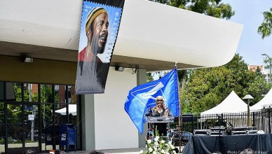 Marvin Gaye's sister Zeola Gaye thanks residents for attending the post office renaming in Los Angeles on Saturday, June 15, 2019. (Photo courtesy: X. Higgs)