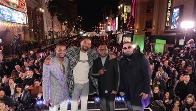 "(L-R) King Bach, Will Smith, Actor/Producer, Martin Lawrence and Nicky Jam attend the Los Angeles premiere of ""Bad Boys for Life"" on Jan. 14, 2020. (Credit: Eric Charbonneau)"