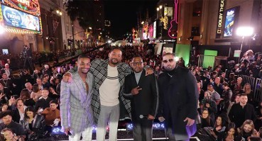 """(L-R) King Bach, Will Smith, Actor/Producer, Martin Lawrence and Nicky Jam attend the Los Angeles premiere of """"Bad Boys for Life"""" on Jan. 14, 2020. (Credit: Eric Charbonneau)"""