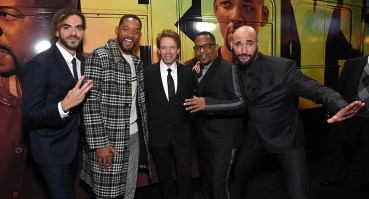 """Adil El Arbi, Director, Will Smith, Jerry Bruckheimer, Producer, Martin Lawrence and Bilall Fallah, Director, attend the Los Angeles Premiere of """"Bad Boys for Life"""" on Jan. 14, 2020. (Credit: Stewart Cook)"""