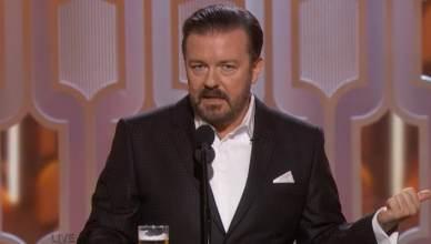 Ricky Gervais Hosts 2020 Golden Globe Awards. (Credit: NBC))